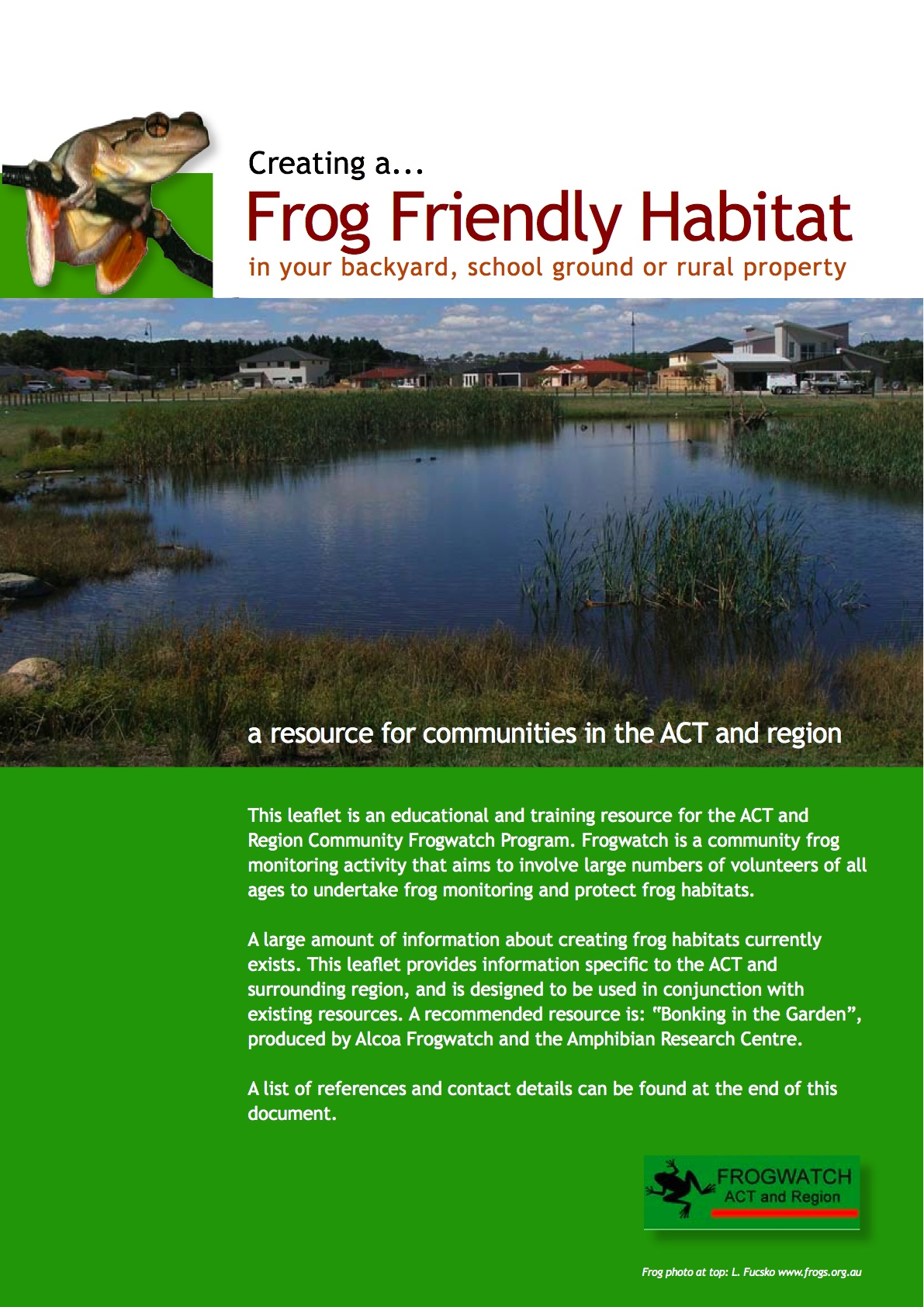 Frogwatch Resources   Ginninderra Catchment Group
